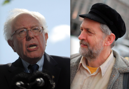 Bernie Sanders, left, and Jeremy Corbyn, right